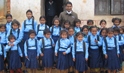 rescued class of girls attending school