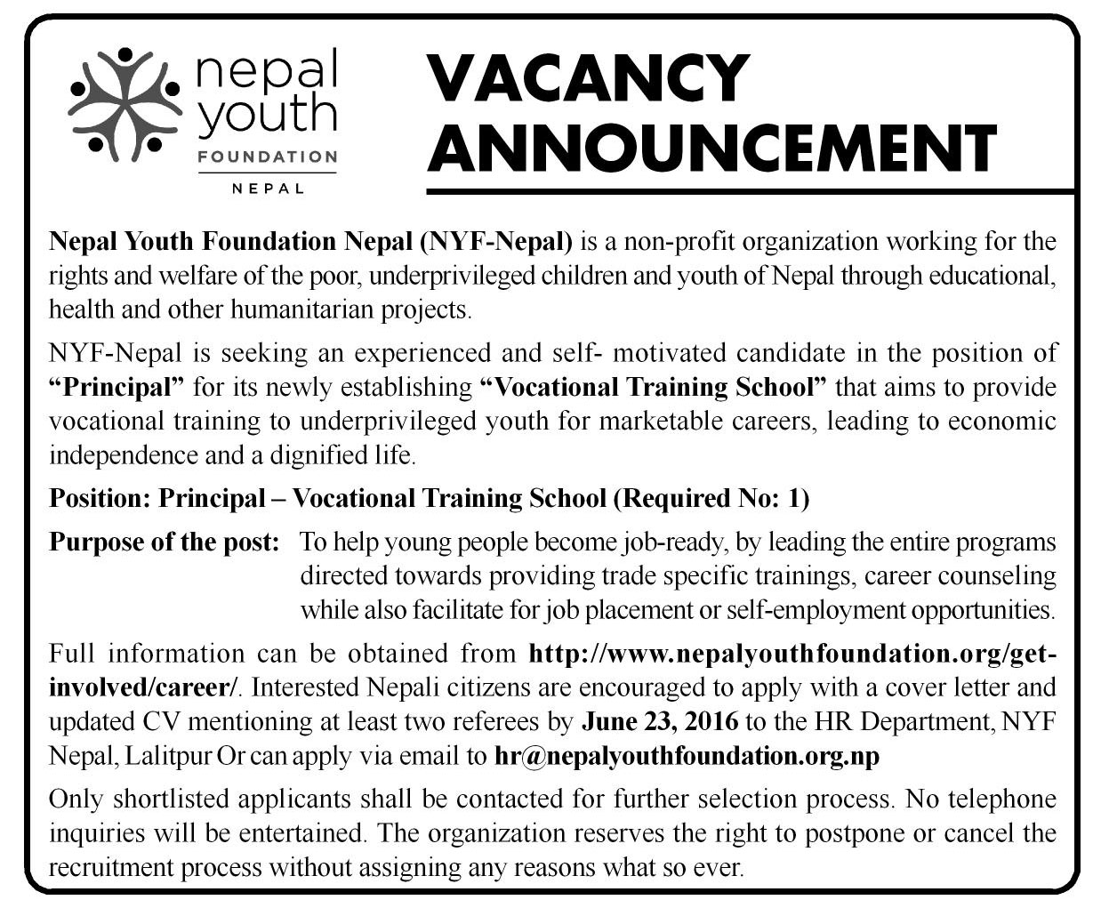 3x10cc Vacancy Nepal Youtht Foundation notice design