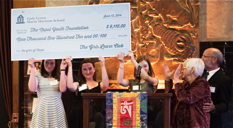 Marin Horizon School students present check to NYF