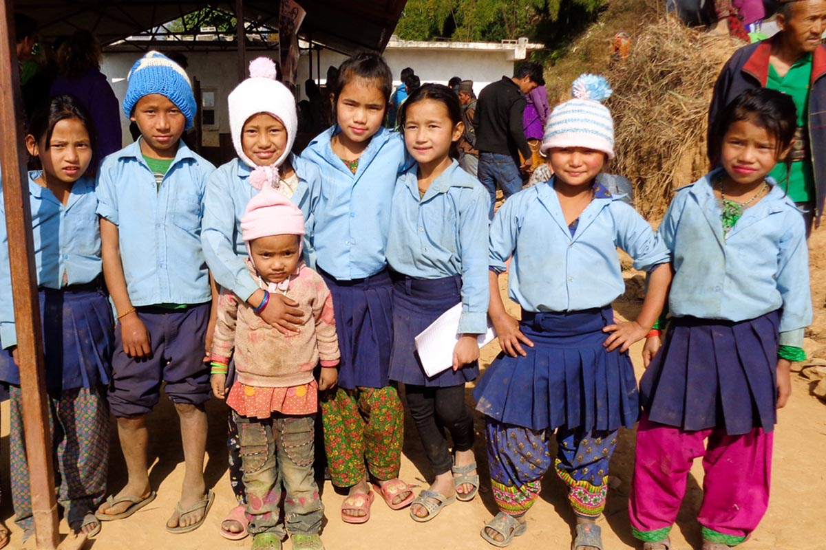 Children with new hats Surviving the Winter